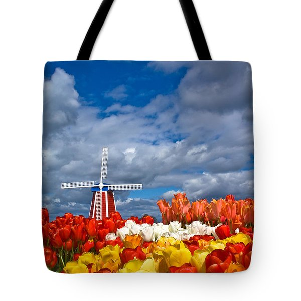 Windmill And Tulips Tote Bag