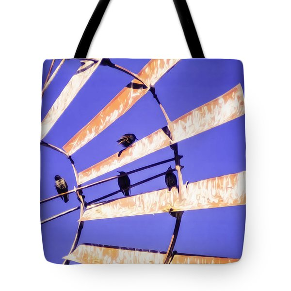 Windmill Birds Tote Bag