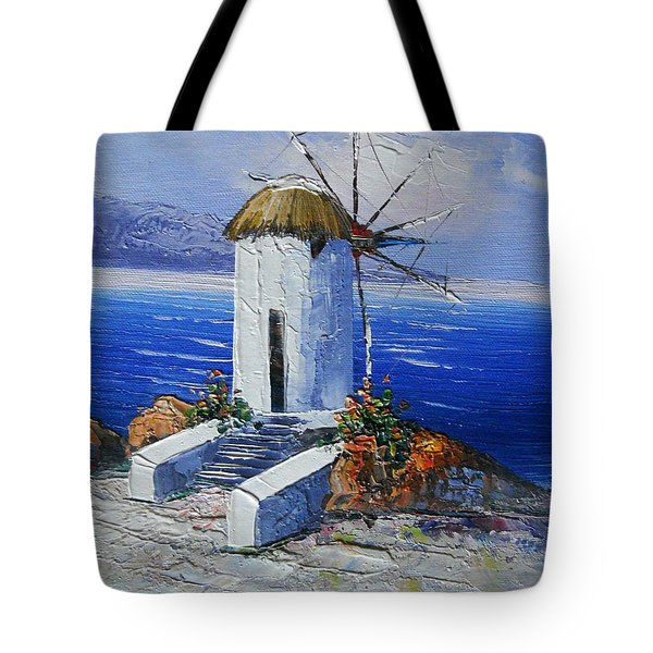 Windmill In Greece Tote Bag