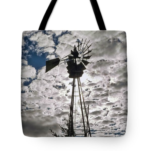 Tote Bag featuring the digital art Windmill In The Clouds by Cathy Anderson