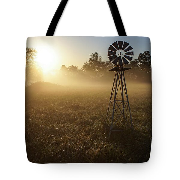 Windmill In The Fog Tote Bag