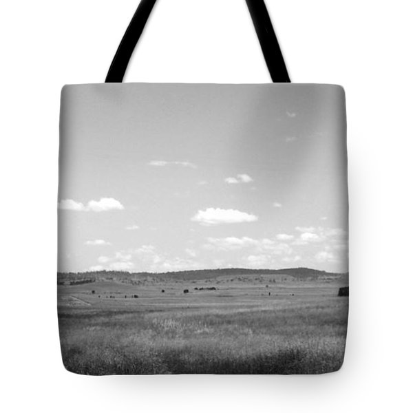 Windmill On The Plains - Black And White Tote Bag by Justin Woodhouse