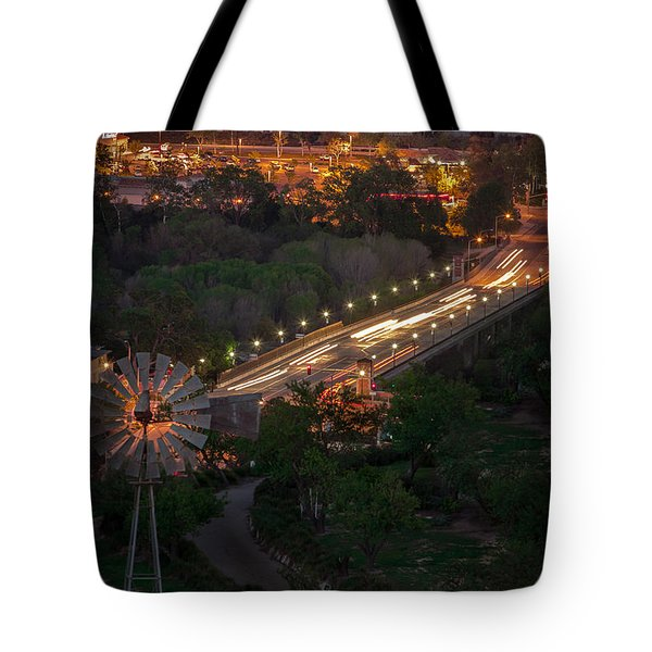 Windmill Over Niblick Bridge Tote Bag by Tim Bryan