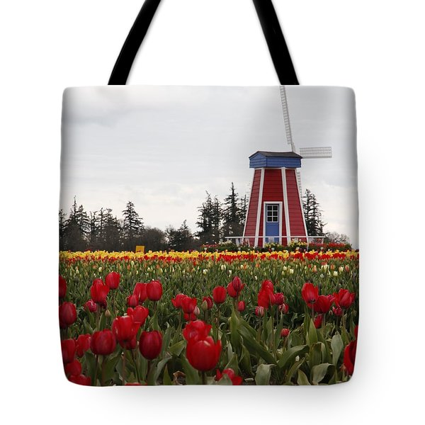 Windmill Red Tulips Tote Bag by Athena Mckinzie