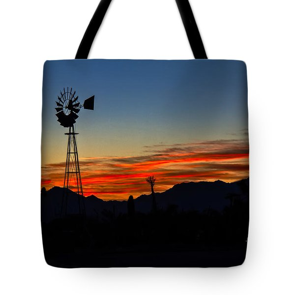 Windmill Silhouette Tote Bag by Robert Bales