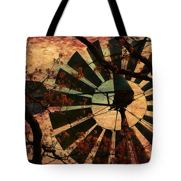 Windmill Through The Oak Tote Bag by Deena Stoddard