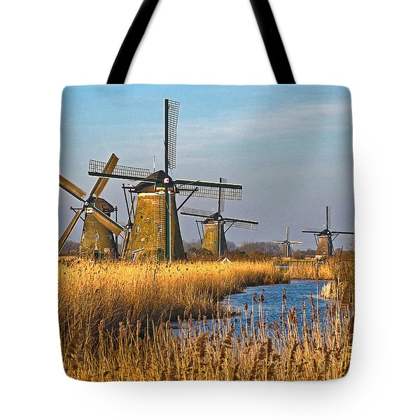 Windmills And Reeds Near Kinderdijk Tote Bag by Frans Blok