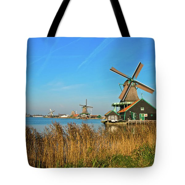 Windmills On De Zaan Tote Bag by Jonah  Anderson