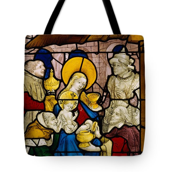 Window Depicting The Adoration Of The Kings Tote Bag by Flemish School