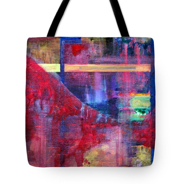 Tote Bag featuring the painting Window In The Red Lounge by Walter Fahmy