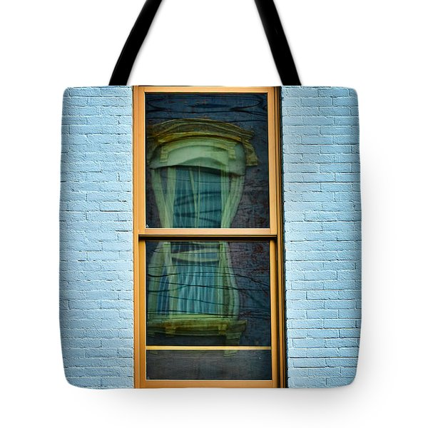 Tote Bag featuring the photograph Window In Window In Red Bank by Gary Slawsky