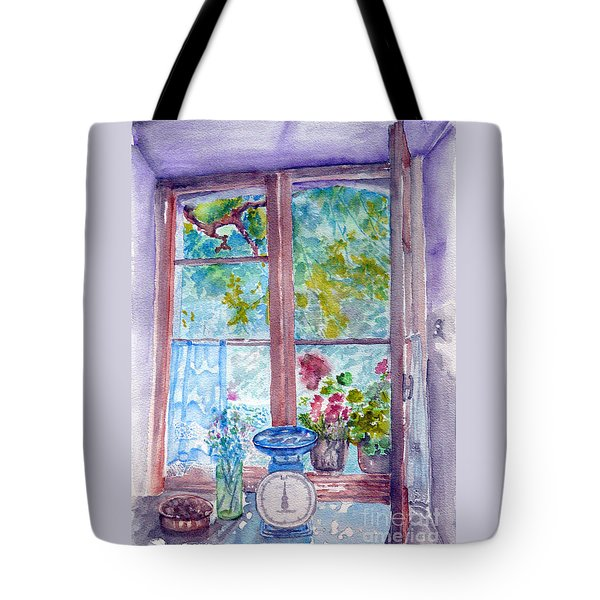 Tote Bag featuring the painting Window by Jasna Dragun