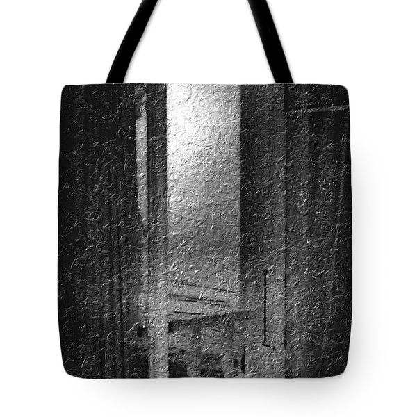 Window Ocean View Black And White Digital Painting Tote Bag