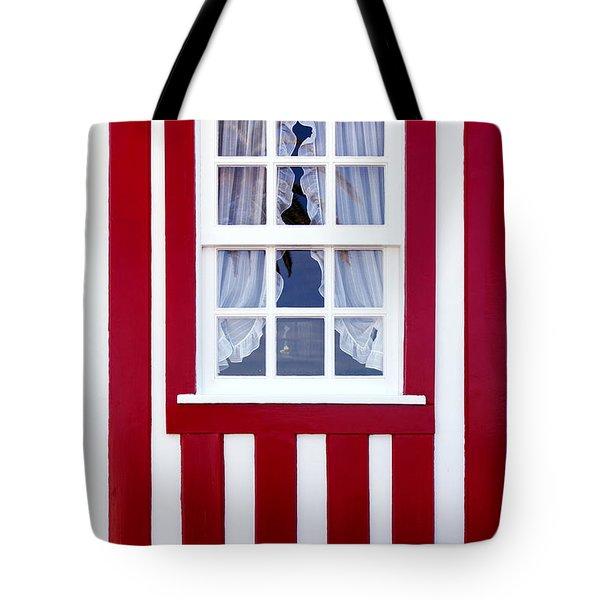 Window On Stripes Tote Bag by Carlos Caetano
