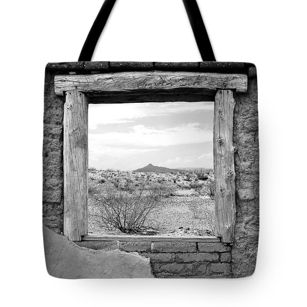 Window Onto Big Bend Desert Southwest Black And White Tote Bag