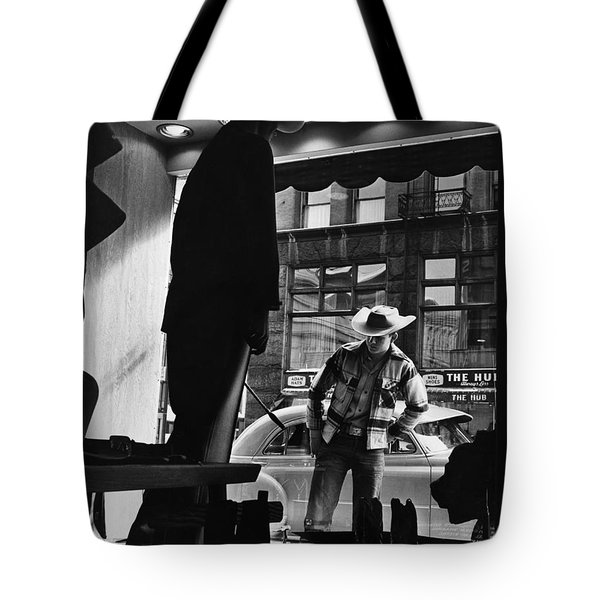 Window Shopping Cowboy Tote Bag by Photo Researchers