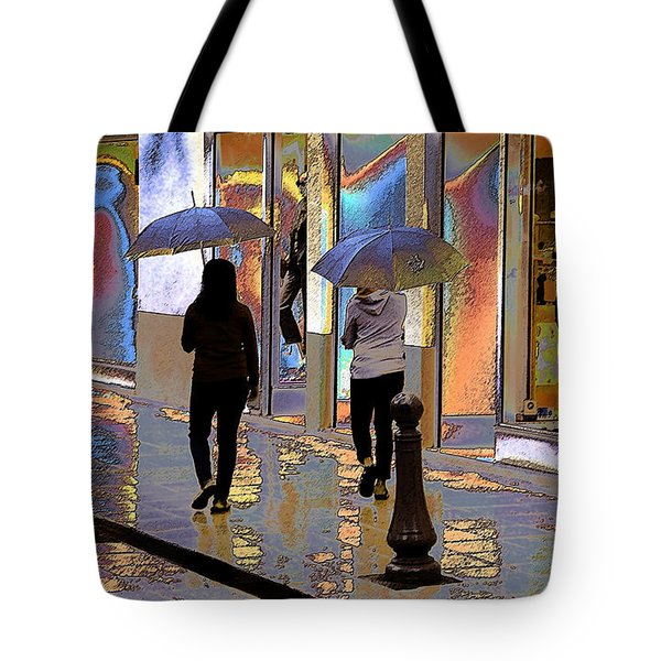 Window Shopping In The Rain Tote Bag by Ben and Raisa Gertsberg