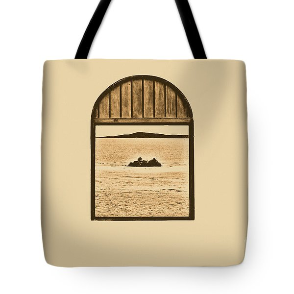 Window View Of Desert Island Puerto Rico Prints Rustic Tote Bag by Shawn O'Brien