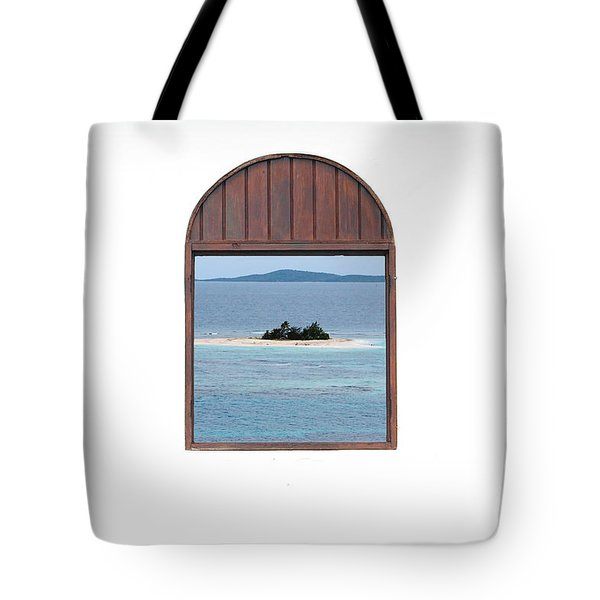 Window View Of Desert Island Puerto Rico Prints Tote Bag by Shawn O'Brien