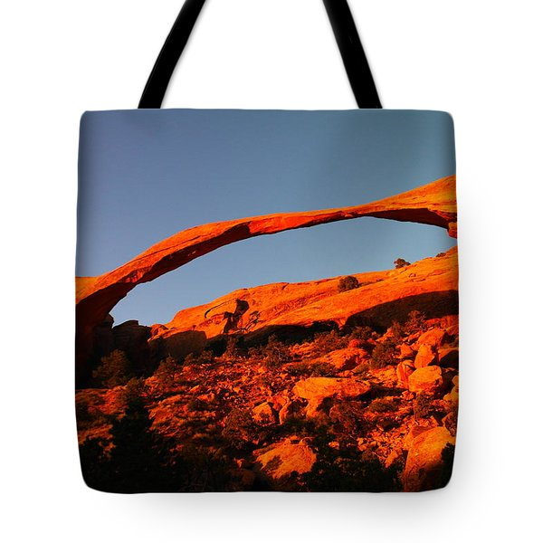 Windows Arch In The Morning Tote Bag by Jeff Swan