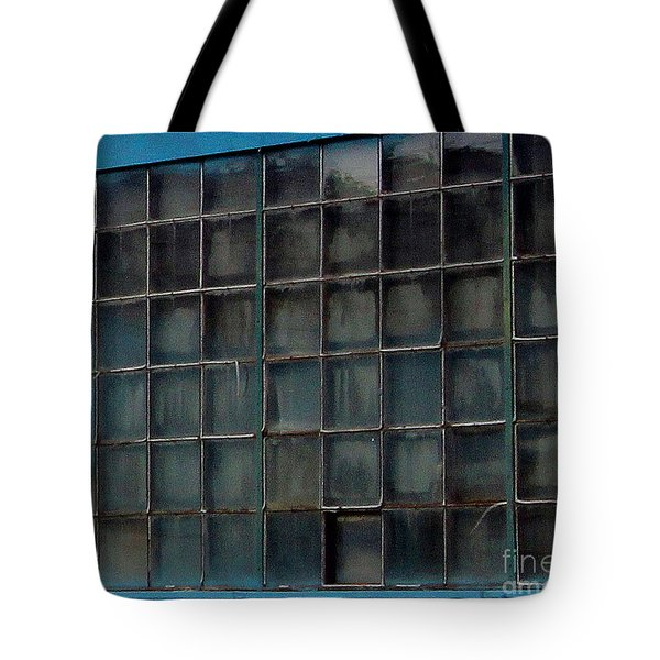 Windows In Blue Building Tote Bag