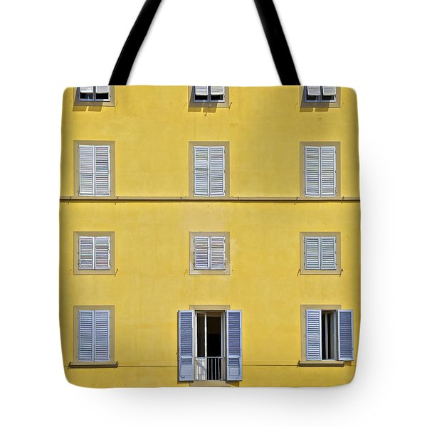 Windows Of Florence Against A Faded Yellow Plaster Wall Tote Bag