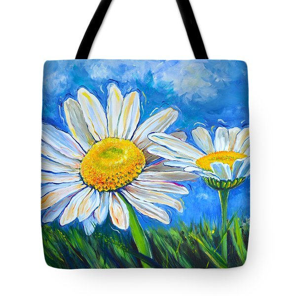 Windswept Daisies Tote Bag