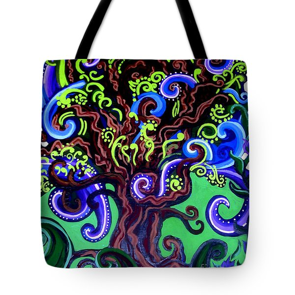 Windy Blue Green Tree Tote Bag by Genevieve Esson