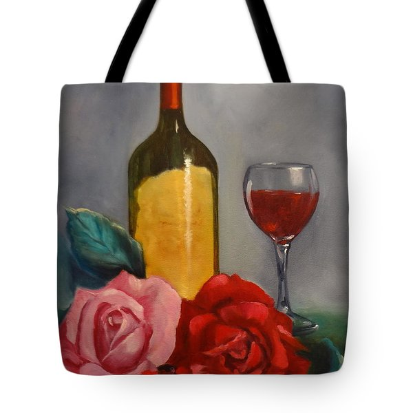 Tote Bag featuring the painting Wine And Roses by Jenny Lee