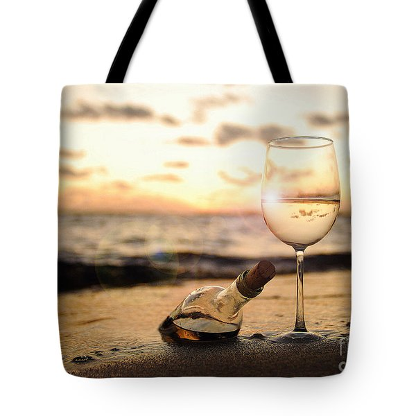 Wine And Sunset Tote Bag