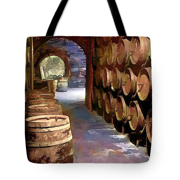 Wine Barrels In The Wine Cellar Tote Bag by Elaine Plesser