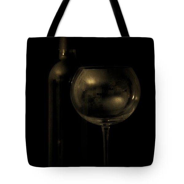 Wine Bottle Still Life Deep Red Tote Bag by Edward Fielding