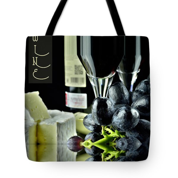 Wine Bottle With Glass Tote Bag