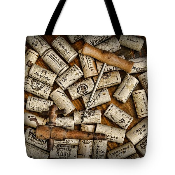 Wine Corks On A Wooden Barrel Tote Bag by Paul Ward