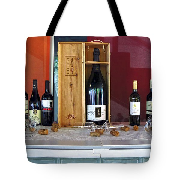 Wine Display Tote Bag by Sally Weigand