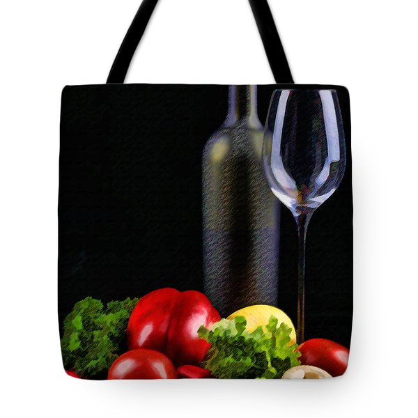 Wine For A Salad Tote Bag by Elaine Plesser