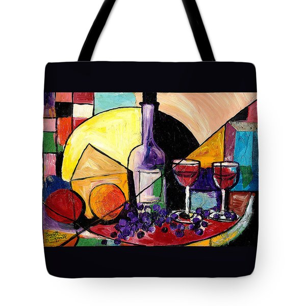 Wine Fruit And Cheese For Two Tote Bag by Everett Spruill
