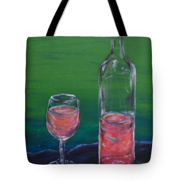 Wine Glass And Bottle Tote Bag