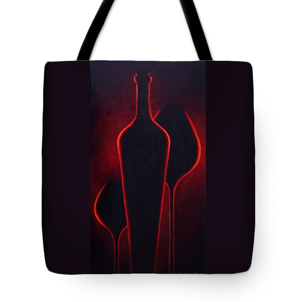 Tote Bag featuring the painting Wine Glow by Sandi Whetzel