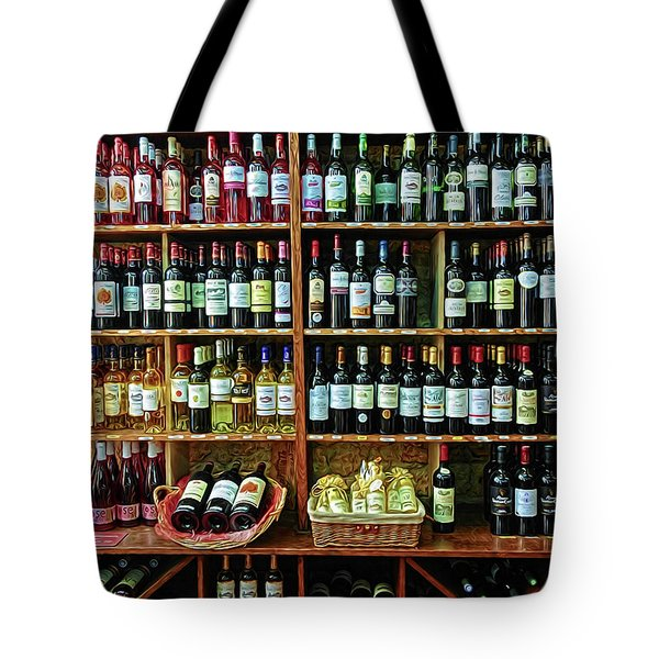 Tote Bag featuring the photograph Wine Store Provence France by Dave Mills