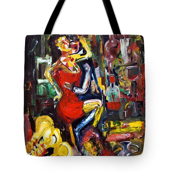 Wine Woman And Music Tote Bag