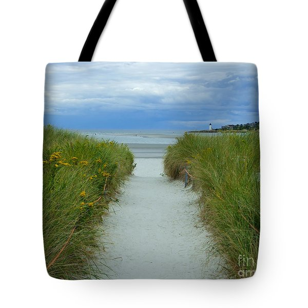 Wingaersheek Beach Path And Annisquam Lighthouse Tote Bag
