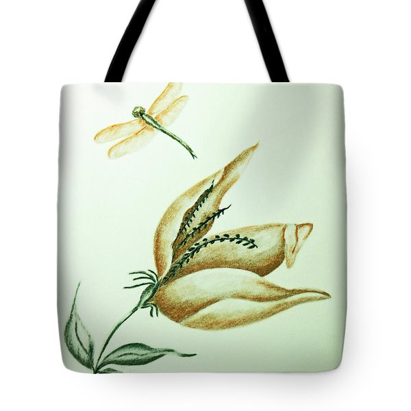 Tote Bag featuring the drawing Winged Beauty by Terri Mills