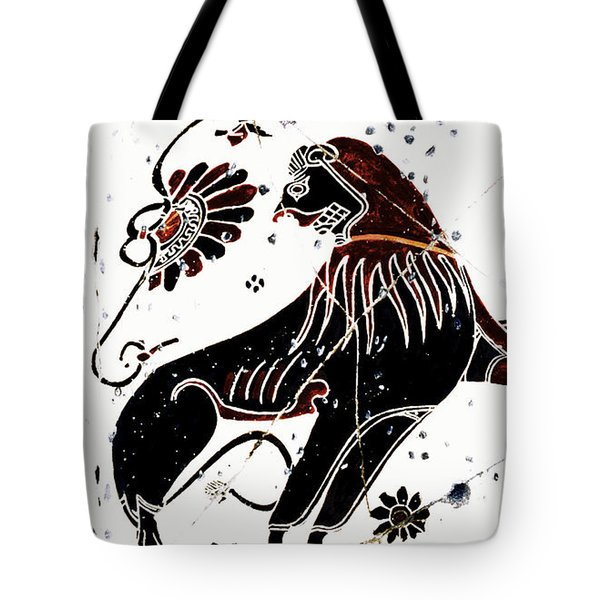 Winged Lion - Detail No. 1 Tote Bag by Steve Bogdanoff