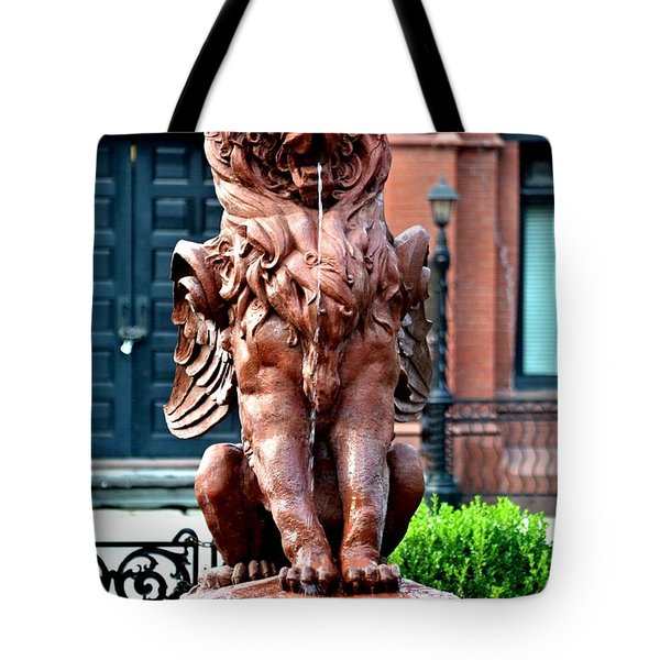 Winged Lion Fountain Tote Bag