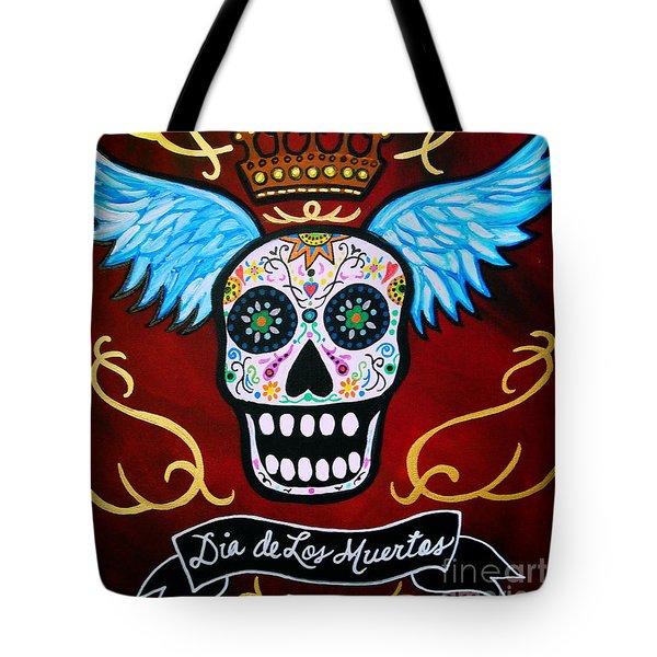 Winged Muertos Tote Bag by Pristine Cartera Turkus