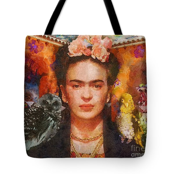 Wings Of Frida Tote Bag by Mo T