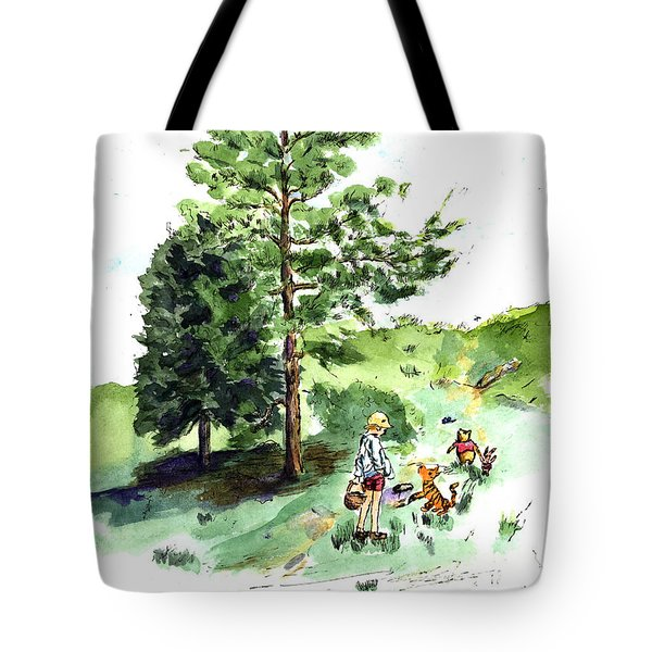 Winnie The Pooh With Christopher Robin After E H Shepard Tote Bag