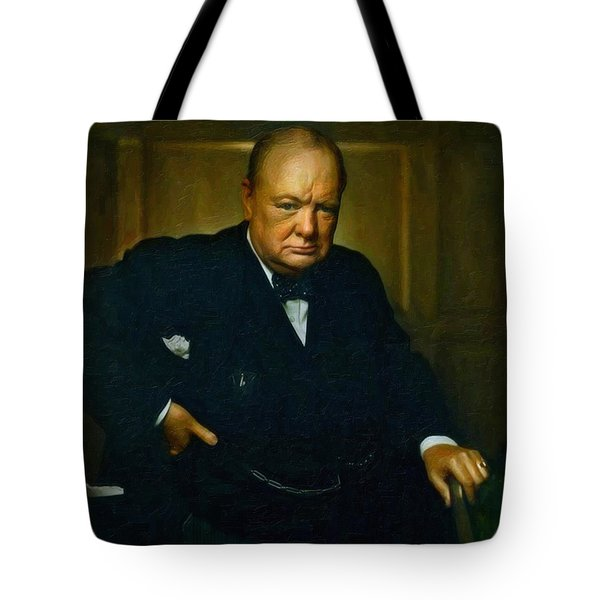 Tote Bag featuring the painting Winston Churchill by Adam Asar