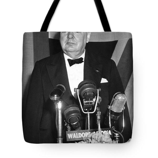 Winston Churchill Speaks Tote Bag